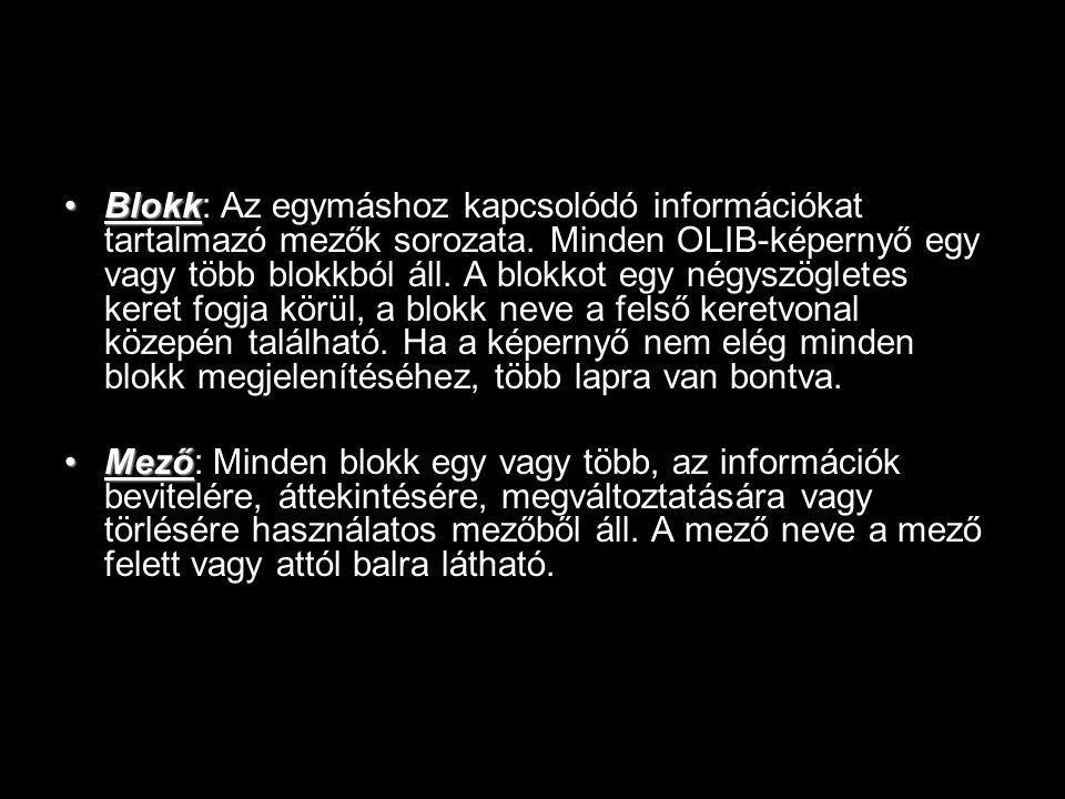 Blokk: Az egymáshoz kapcsolódó információkat tartalmazó mezők sorozata