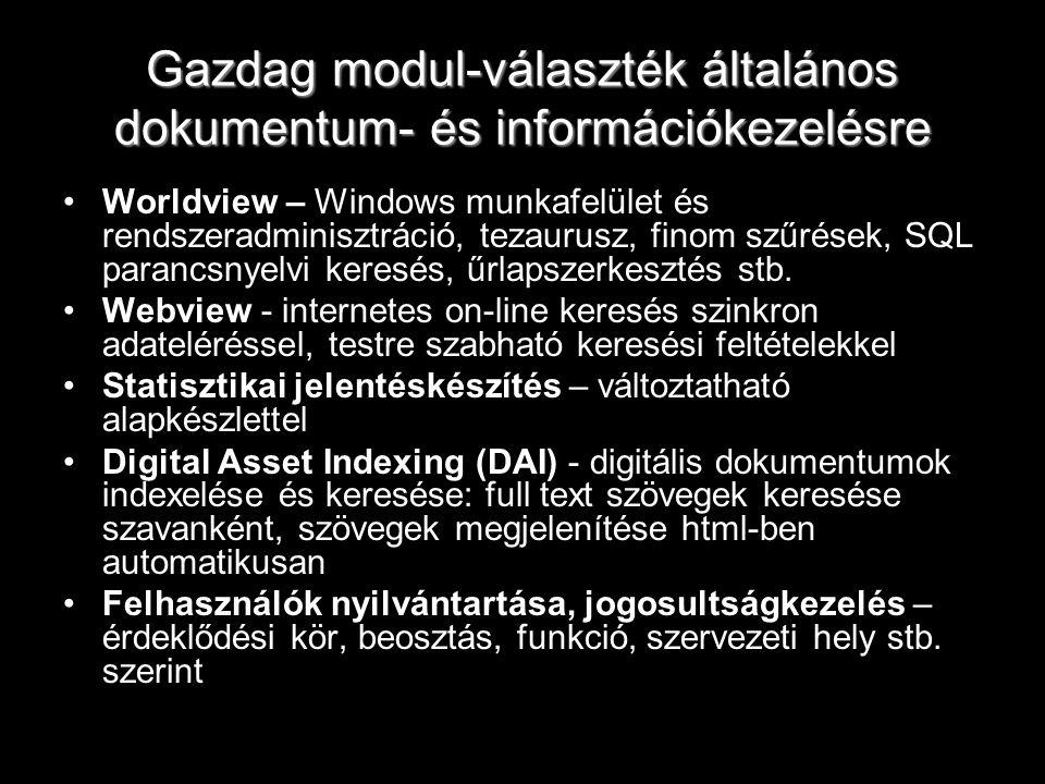 Gazdag modul-választék általános dokumentum- és információkezelésre