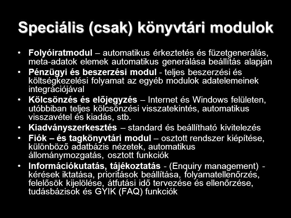 Speciális (csak) könyvtári modulok