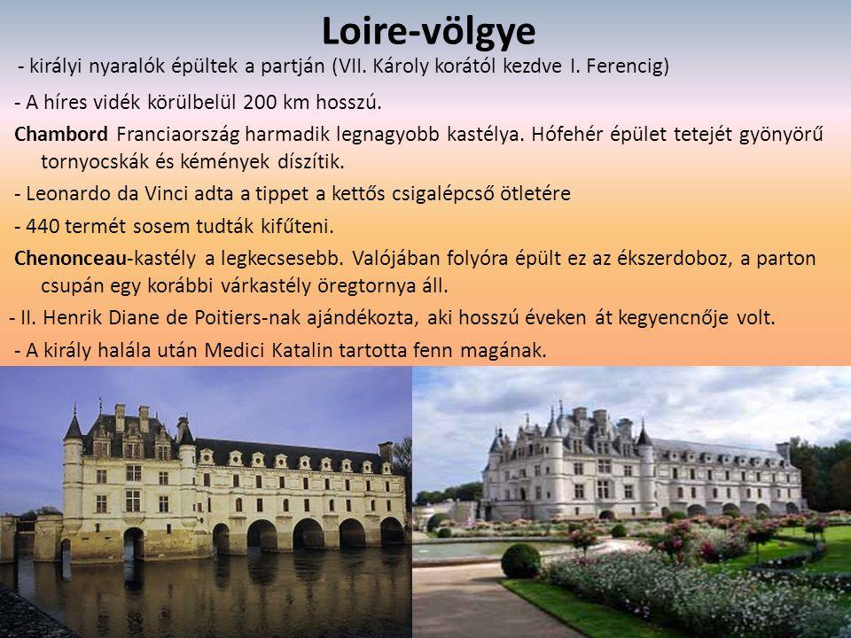Loire-völgye - királyi nyaralók épültek a partján (VII. Károly korától kezdve I. Ferencig) - A híres vidék körülbelül 200 km hosszú.