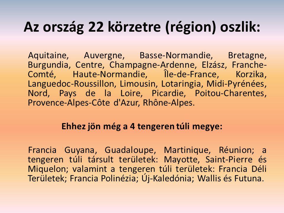 Az ország 22 körzetre (région) oszlik: