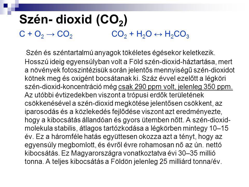 Szén- dioxid (CO2) C + O2 → CO2 CO2 + H2O ↔ H2CO3.