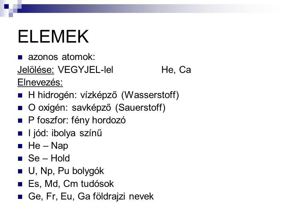 ELEMEK azonos atomok: Jelölése: VEGYJEL-lel He, Ca Elnevezés: