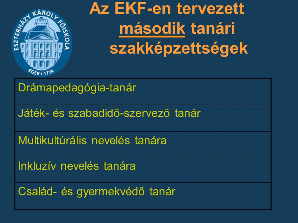 Az EKF-en tervezett második tanári szakképzettségek