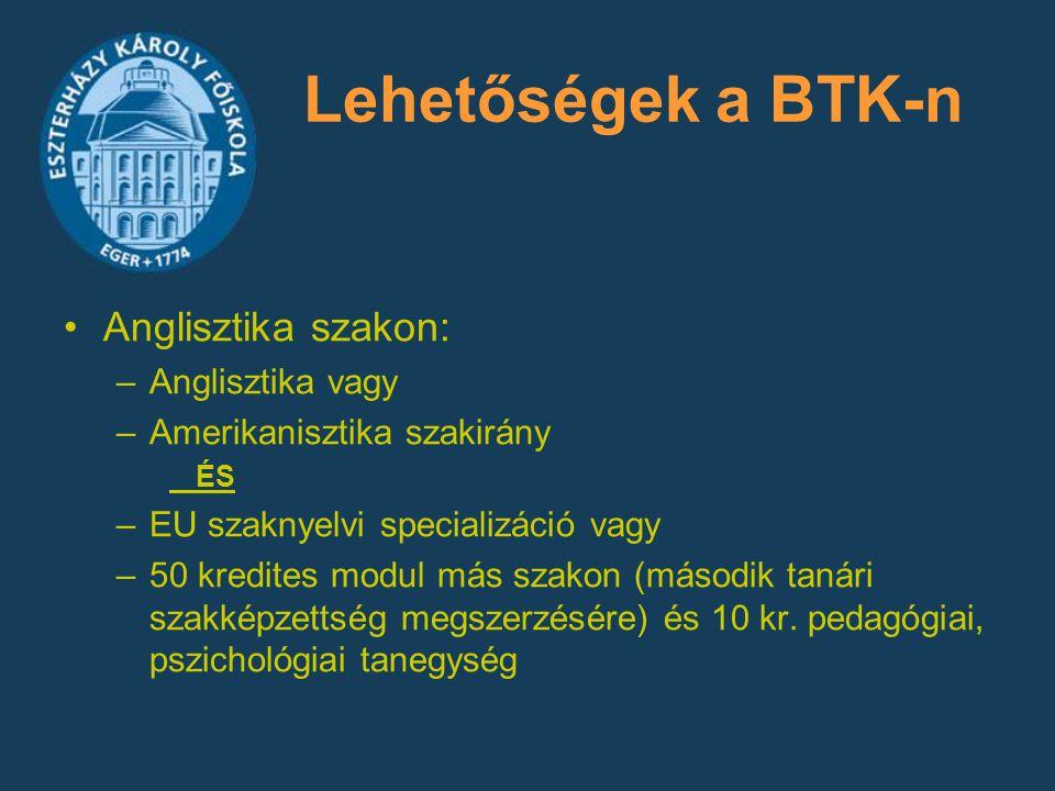 Lehetőségek a BTK-n Anglisztika szakon: Anglisztika vagy