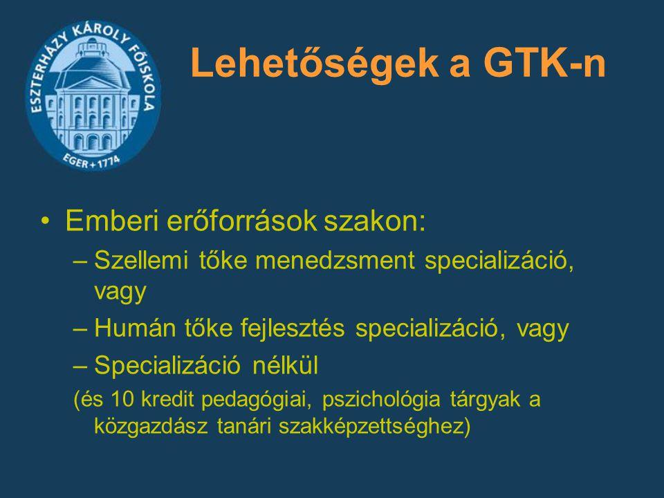 Lehetőségek a GTK-n Emberi erőforrások szakon: