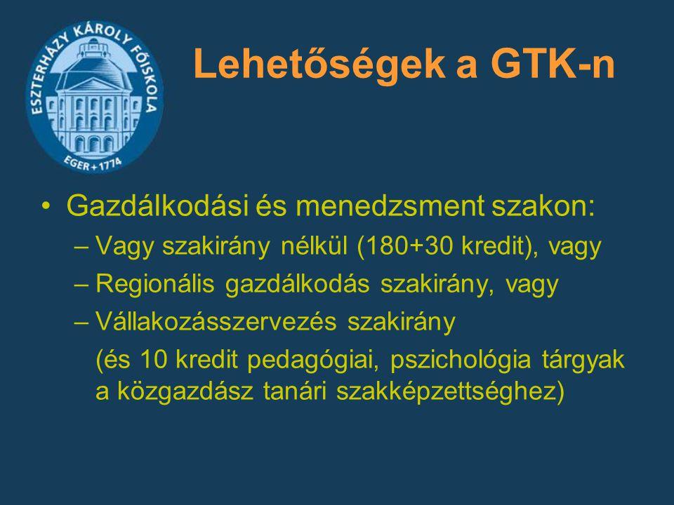 Lehetőségek a GTK-n Gazdálkodási és menedzsment szakon: