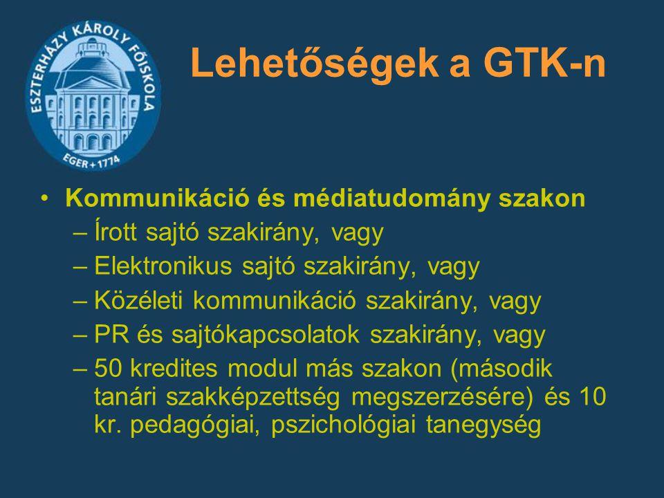 Lehetőségek a GTK-n Kommunikáció és médiatudomány szakon