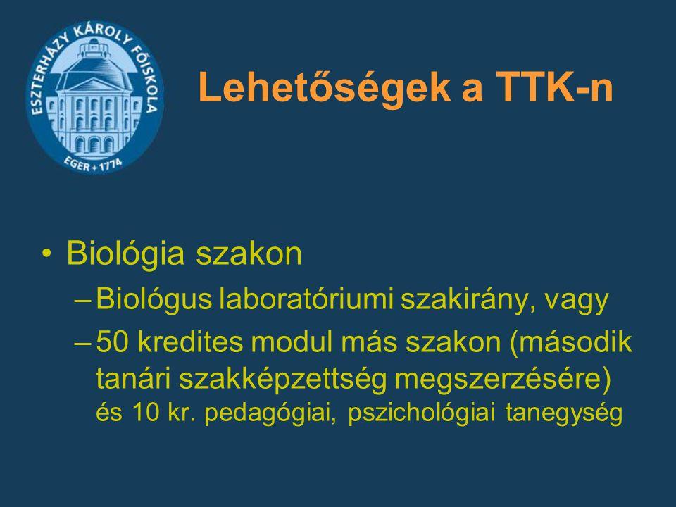 Lehetőségek a TTK-n Biológia szakon