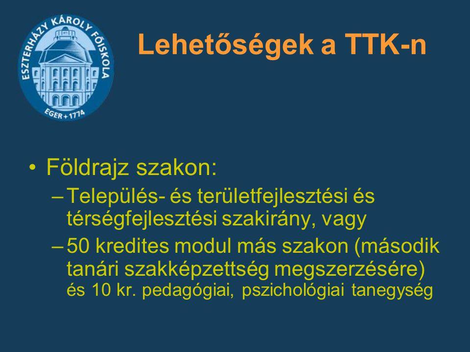 Lehetőségek a TTK-n Földrajz szakon: