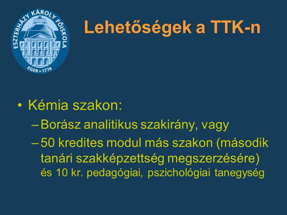 Lehetőségek a TTK-n Kémia szakon: Borász analitikus szakirány, vagy