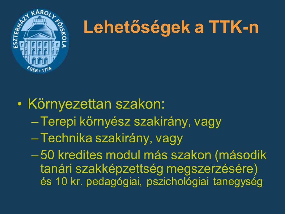 Lehetőségek a TTK-n Környezettan szakon: