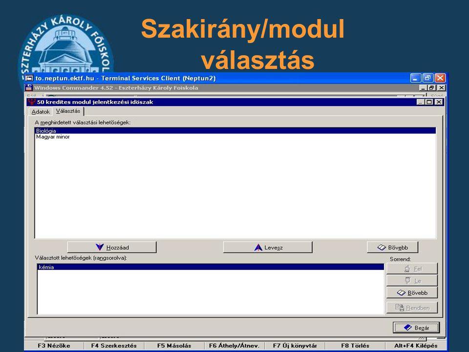 Szakirány/modul választás