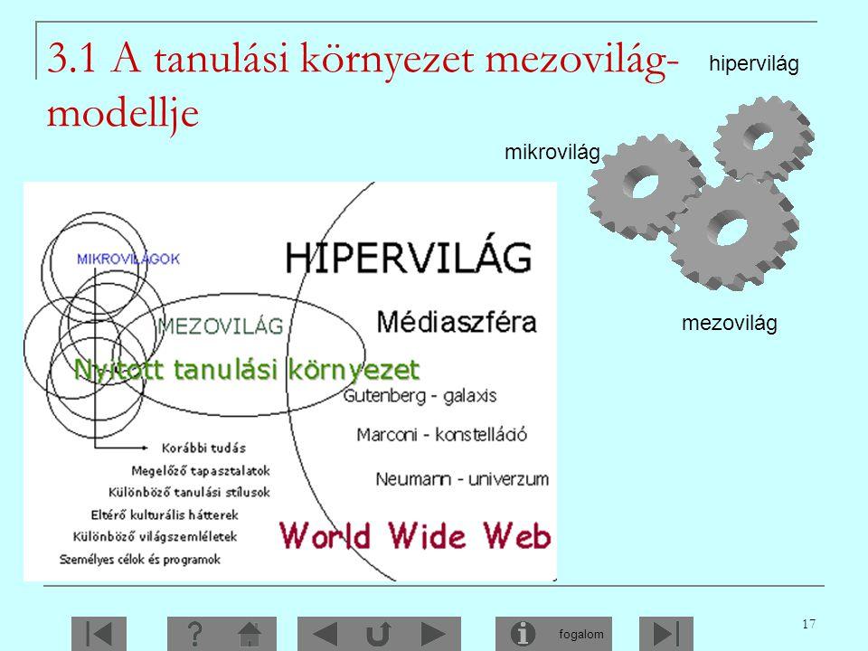 3.1 A tanulási környezet mezovilág-modellje