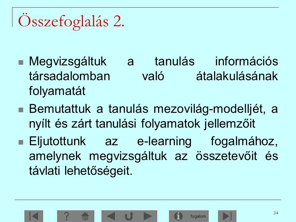 Összefoglalás 2. Megvizsgáltuk a tanulás információs társadalomban való átalakulásának folyamatát.