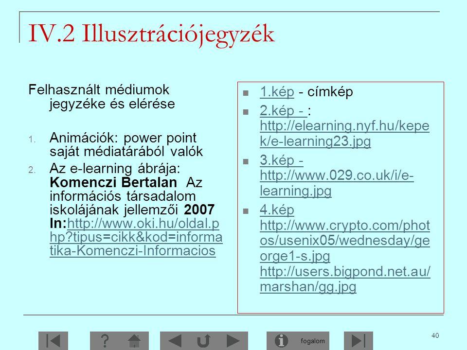 IV.2 Illusztrációjegyzék