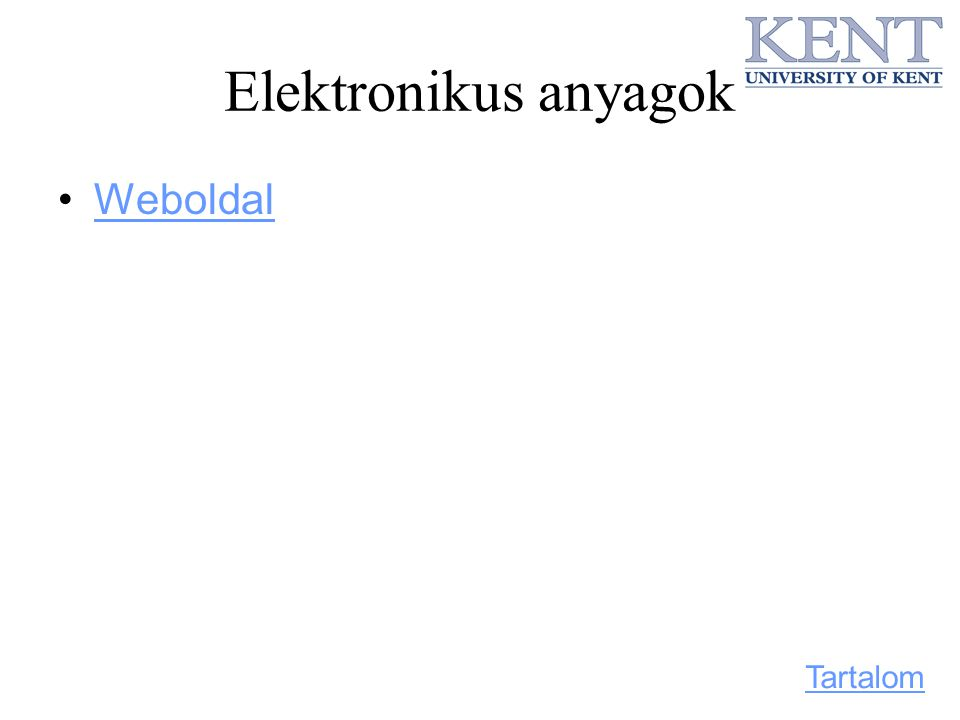 Elektronikus anyagok Weboldal Tartalom