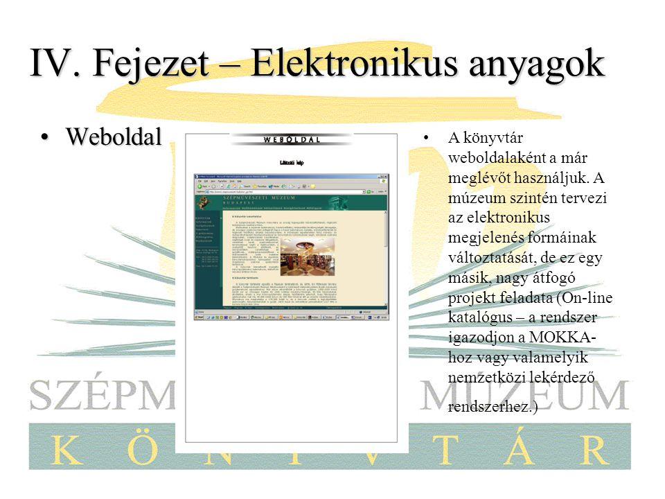IV. Fejezet – Elektronikus anyagok