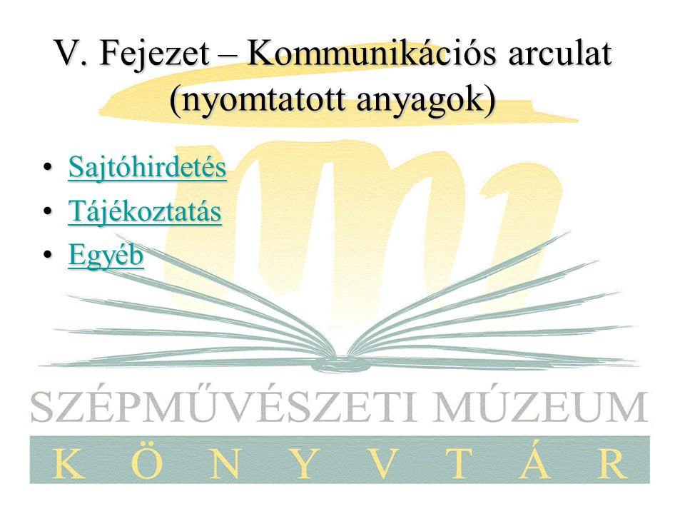 V. Fejezet – Kommunikációs arculat (nyomtatott anyagok)