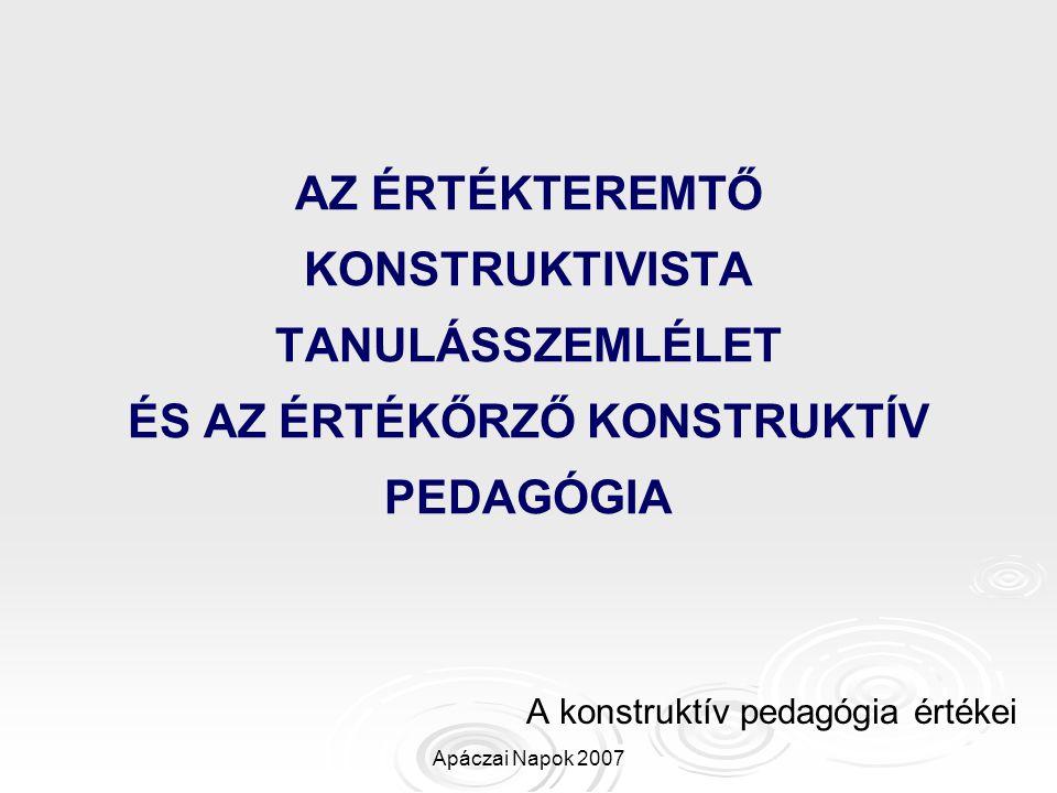 A konstruktív pedagógia értékei