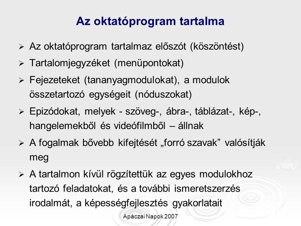 Az oktatóprogram tartalma