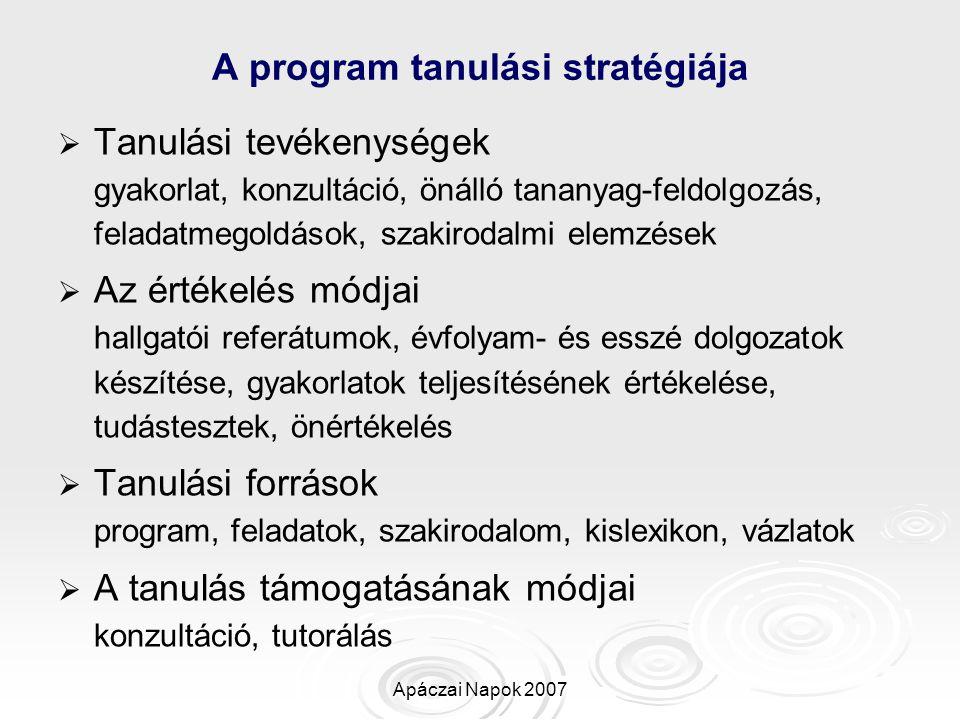 A program tanulási stratégiája