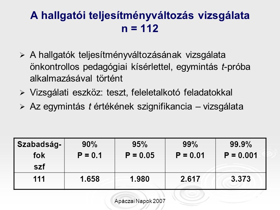 A hallgatói teljesítményváltozás vizsgálata n = 112