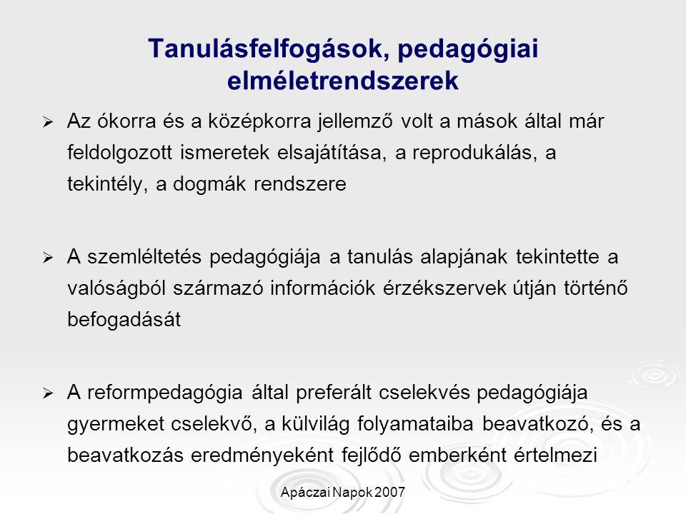 Tanulásfelfogások, pedagógiai elméletrendszerek