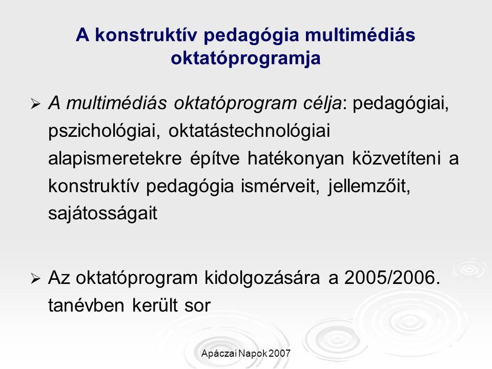 A konstruktív pedagógia multimédiás oktatóprogramja