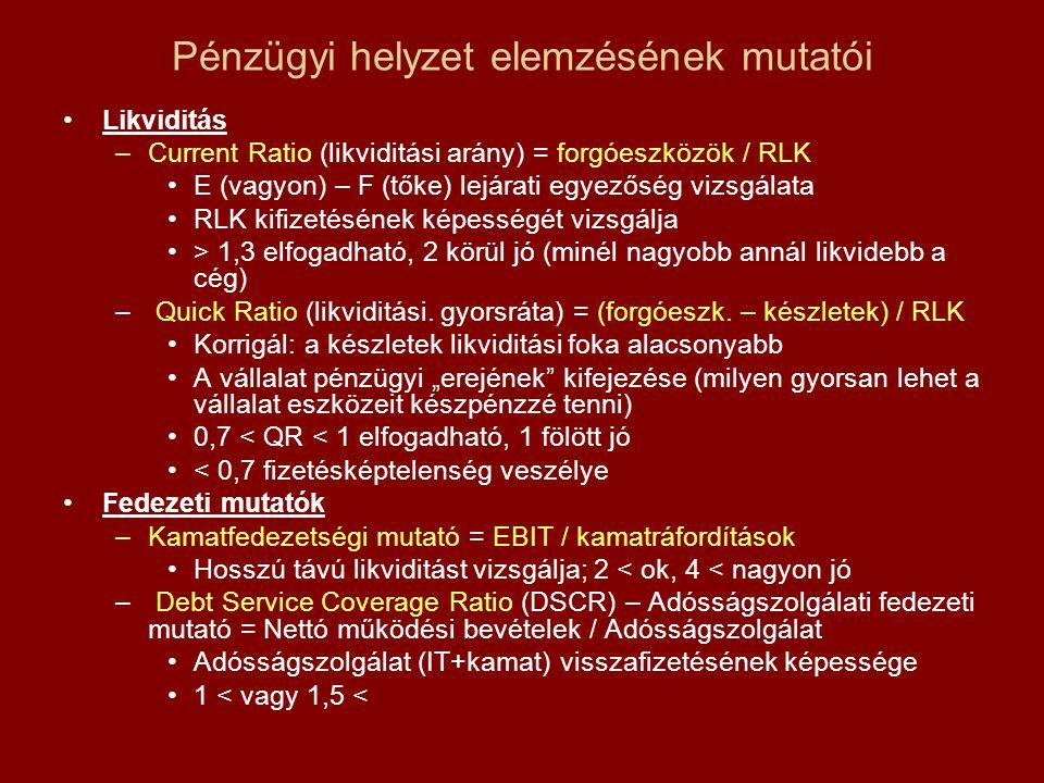 Pénzügyi helyzet elemzésének mutatói
