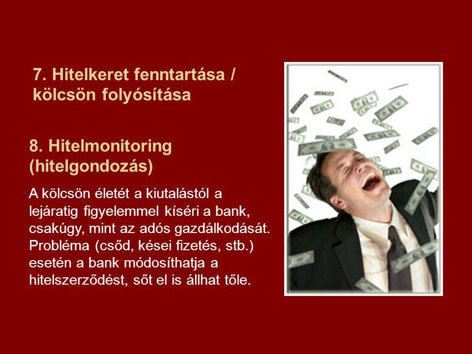 7. Hitelkeret fenntartása / kölcsön folyósítása