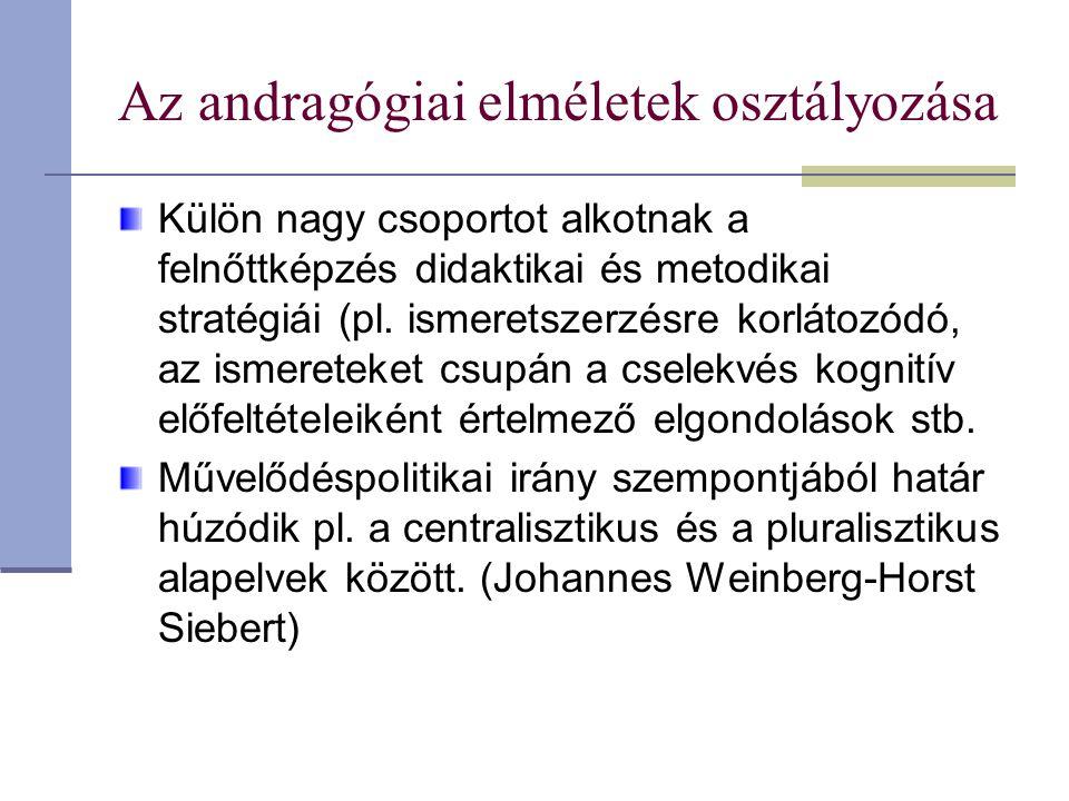 Az andragógiai elméletek osztályozása