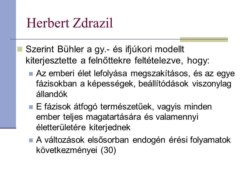 Herbert Zdrazil Szerint Bühler a gy.- és ifjúkori modellt kiterjesztette a felnőttekre feltételezve, hogy: