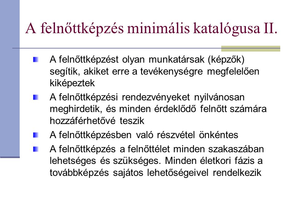 A felnőttképzés minimális katalógusa II.