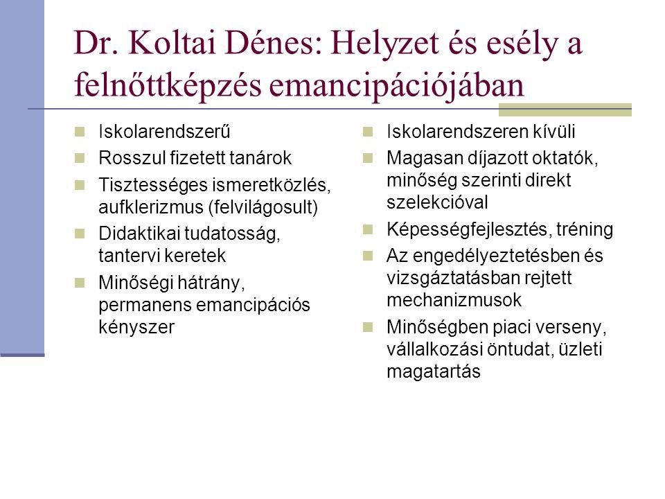 Dr. Koltai Dénes: Helyzet és esély a felnőttképzés emancipációjában