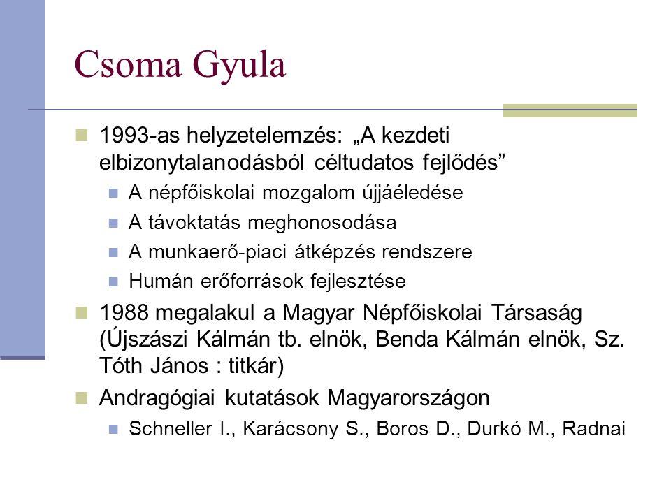 """Csoma Gyula 1993-as helyzetelemzés: """"A kezdeti elbizonytalanodásból céltudatos fejlődés A népfőiskolai mozgalom újjáéledése."""