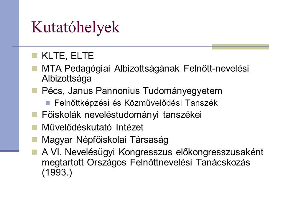 Kutatóhelyek KLTE, ELTE