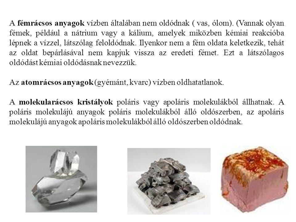 A fémrácsos anyagok vízben általában nem oldódnak ( vas, ólom)