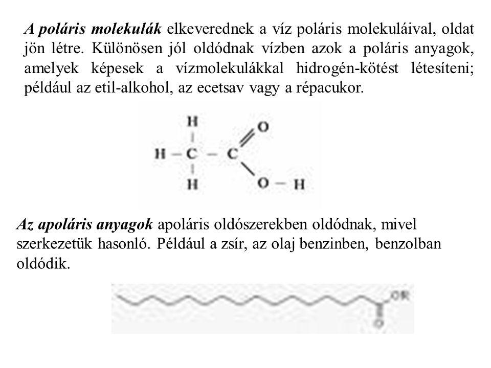 A poláris molekulák elkeverednek a víz poláris molekuláival, oldat jön létre. Különösen jól oldódnak vízben azok a poláris anyagok, amelyek képesek a vízmolekulákkal hidrogén-kötést létesíteni; például az etil-alkohol, az ecetsav vagy a répacukor.