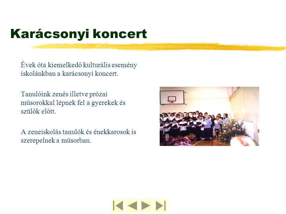 Karácsonyi koncert Évek óta kiemelkedő kulturális esemény iskolánkban a karácsonyi koncert.