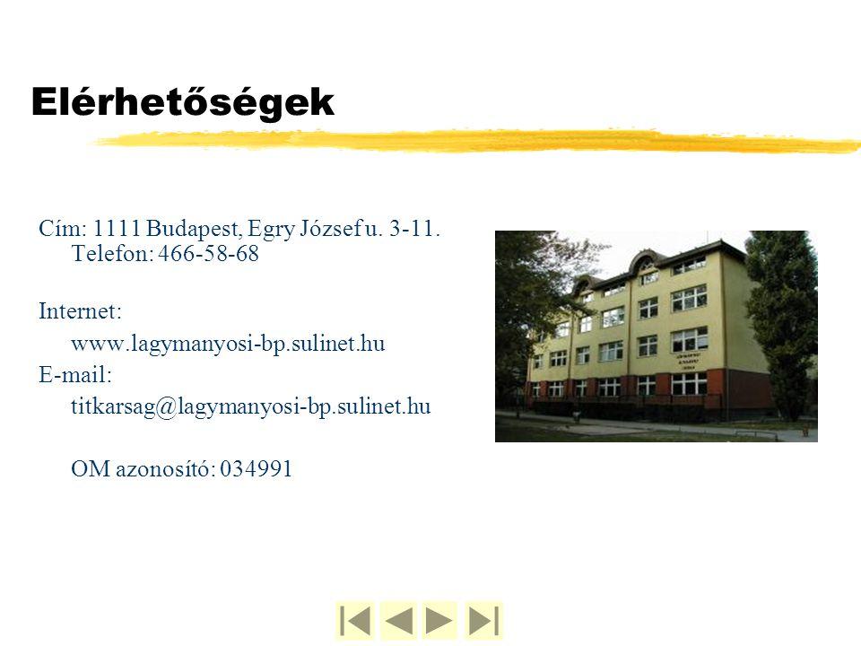 Elérhetőségek Cím: 1111 Budapest, Egry József u. 3-11. Telefon: 466-58-68. Internet: www.lagymanyosi-bp.sulinet.hu.