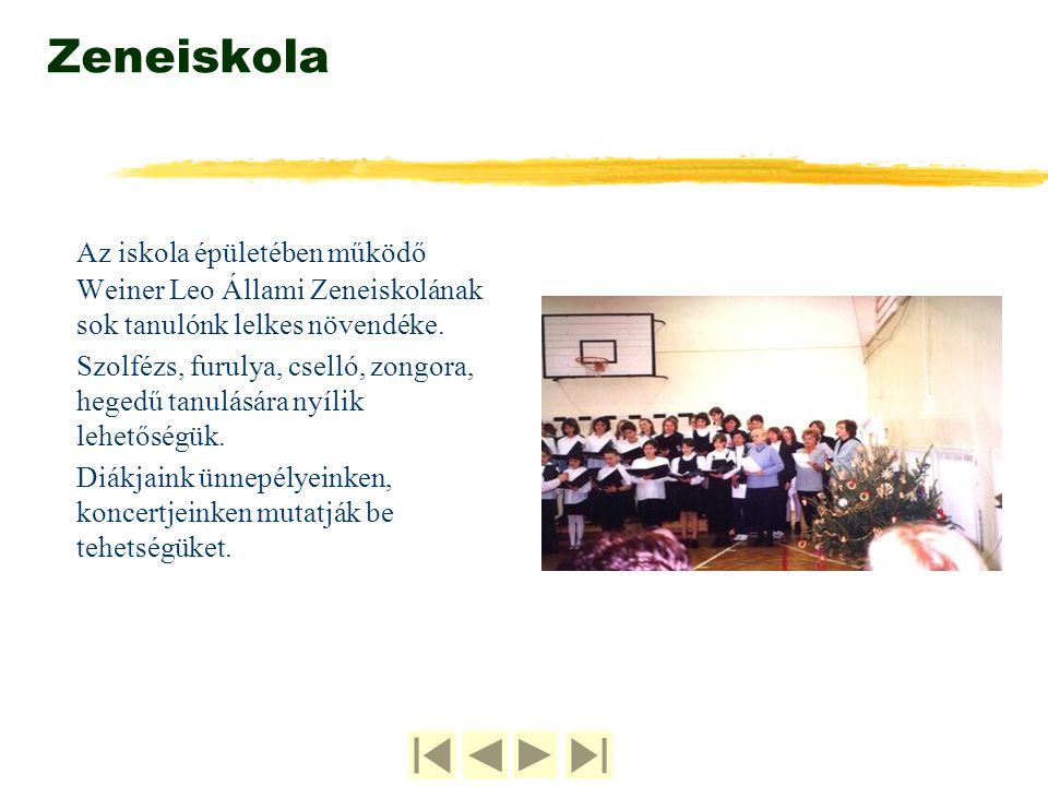 Zeneiskola Az iskola épületében működő Weiner Leo Állami Zeneiskolának sok tanulónk lelkes növendéke.