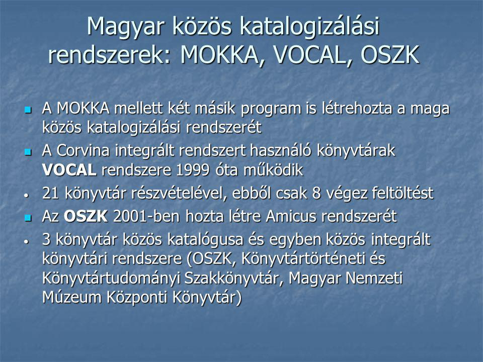 Magyar közös katalogizálási rendszerek: MOKKA, VOCAL, OSZK