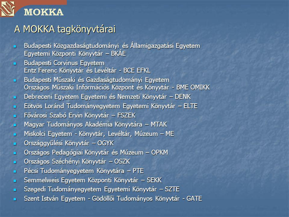 A MOKKA tagkönyvtárai Budapesti Közgazdaságtudományi és Államigazgatási Egyetem Egyetemi Központi Könyvtár – BKÁE.