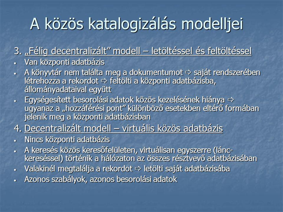 A közös katalogizálás modelljei