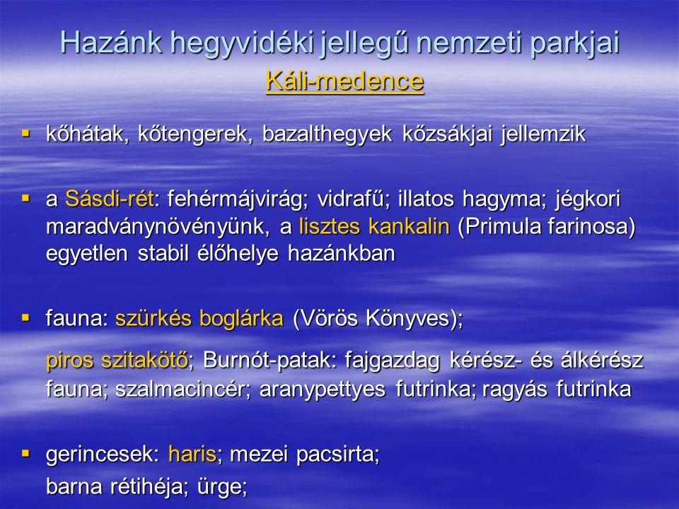 Hazánk hegyvidéki jellegű nemzeti parkjai Káli-medence
