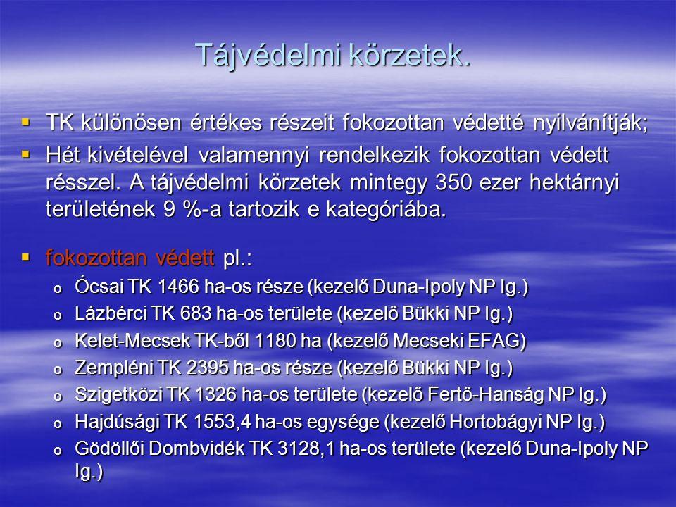 Tájvédelmi körzetek. TK különösen értékes részeit fokozottan védetté nyilvánítják;