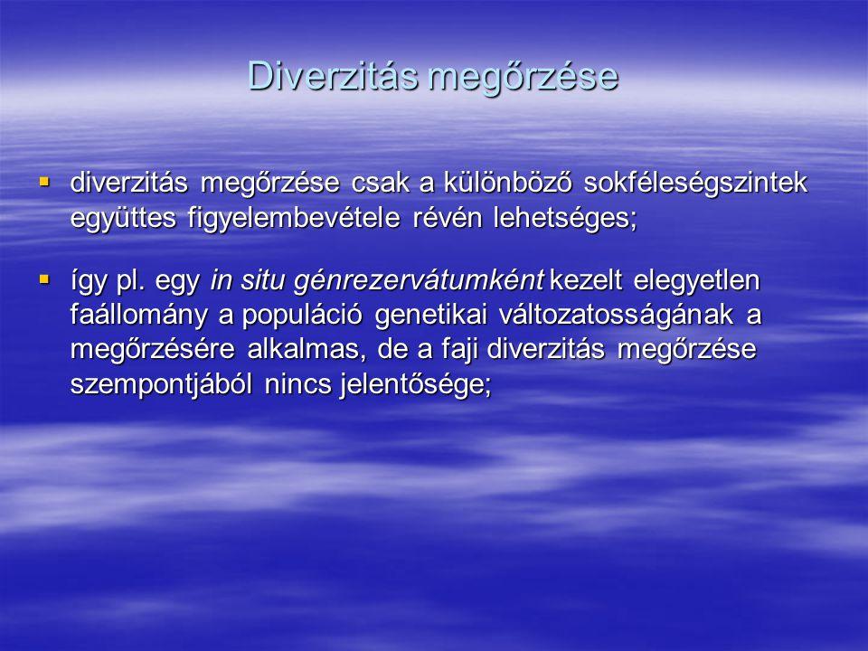 Diverzitás megőrzése diverzitás megőrzése csak a különböző sokféleségszintek együttes figyelembevétele révén lehetséges;