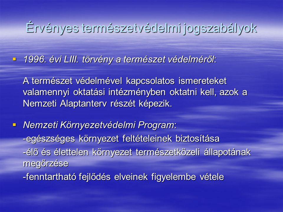 Érvényes természetvédelmi jogszabályok
