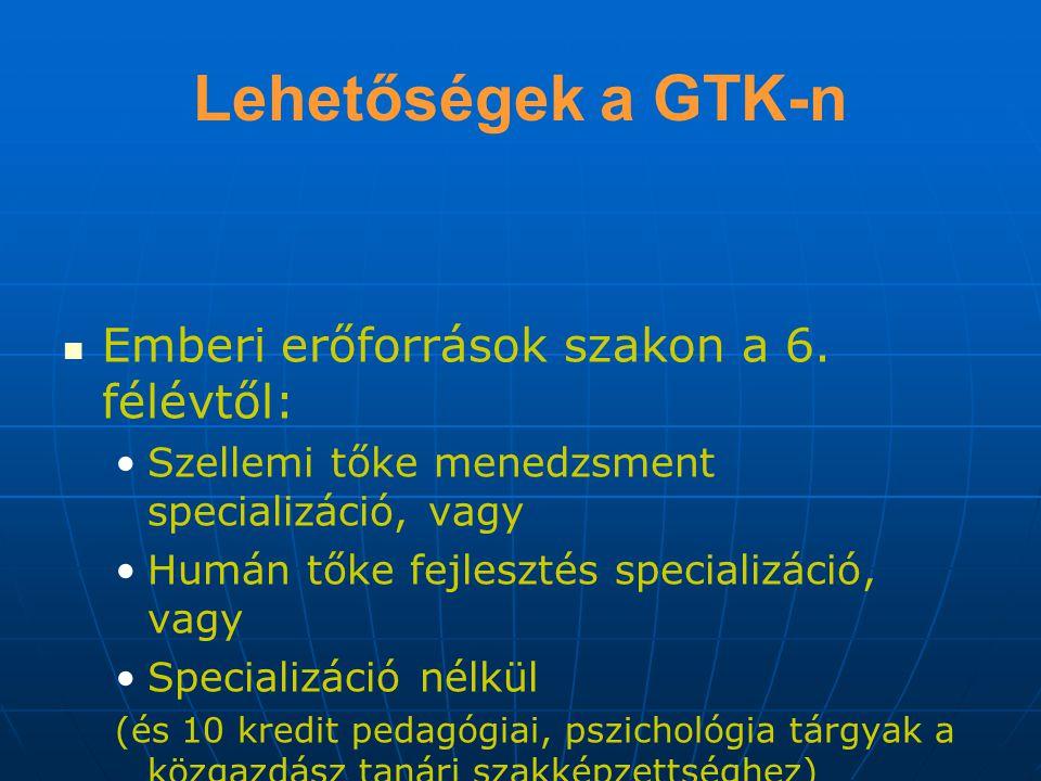 Lehetőségek a GTK-n Emberi erőforrások szakon a 6. félévtől:
